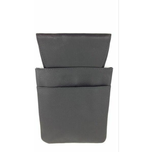 Sam bőr pincérbrifkó tartó 2 fakkos 13,5x21,5cm fekete