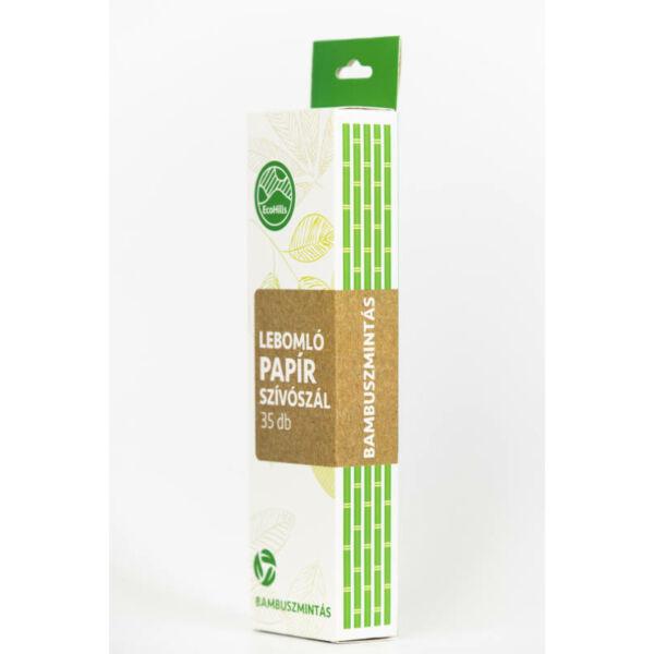 4 rétegű papír szívószál - bambusz mintás, 35 db/csomag