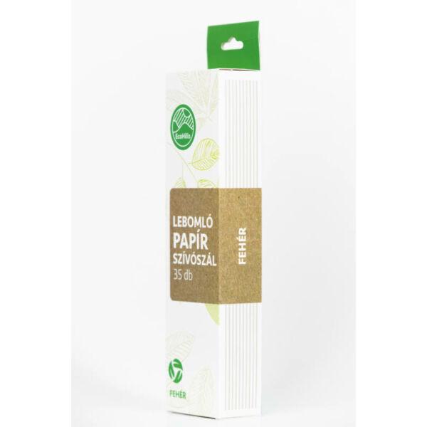 4 rétegű papír szívószál - fehér, 35 db/csomag