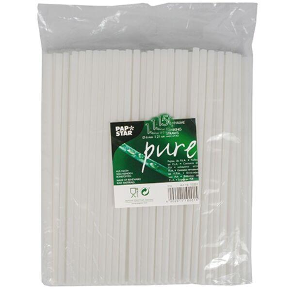 Ecohills Bio PLA szívószál, lebomló és komposztálható, környezettudatos (fehér 500 db/cs 6,5 mm)