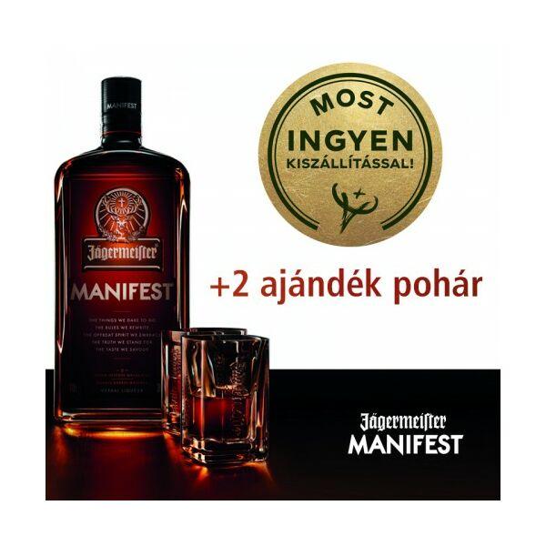 Jägermeister Manifest likőr + 2 ajándék pohár 1L 38%