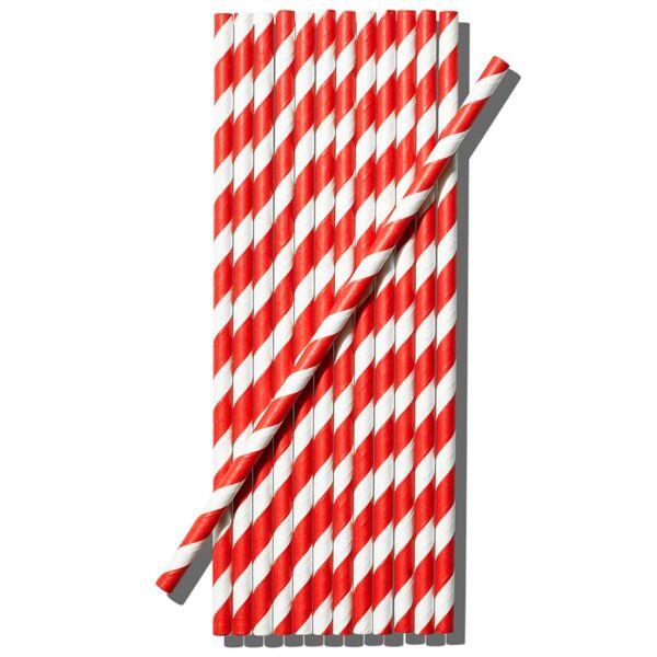 Kétszínű papír szívószál piros-fehér 100db/cs