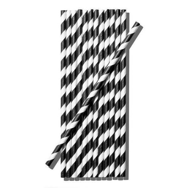 Papír szívószál (standard 6x195mm) fekete-fehér csíkos, 200 db/csomag