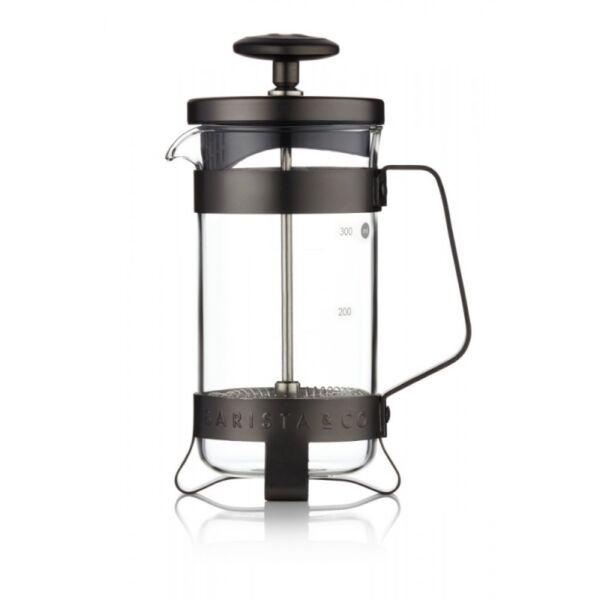 French Press 3 személyes kávé és tea készítő fekete színű