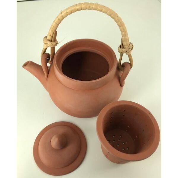 Eredeti Japán natúr kerámia teáskanna szűrővel, bambusz foganytúval 300 ml