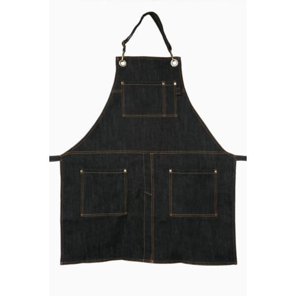 Fekete farmer barista, báros kötény pántos A1