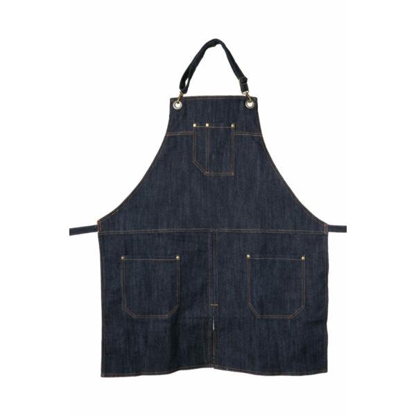 Kék farmer barista, báros kötény pántos A2