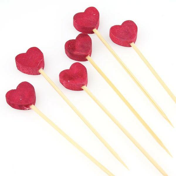Bambusz koktélnyárs piros szív fejjel 80mm 100db/cs
