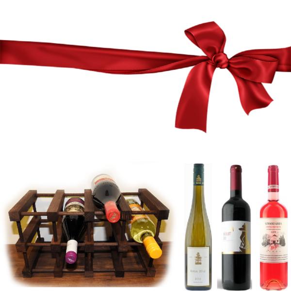 Boros ajándékcsomag bortartóval