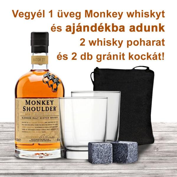 Monkey Shoulder whisky 0,7L 40% + 2db ajándék whiskys pohárral és 2db gránitkockával