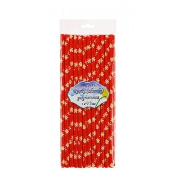 Piros margarétás papírszívószál 24 db/cs 6 x 197 mm