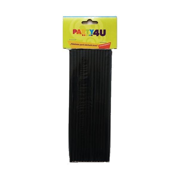 Fekete egyenes szívószál 8 mm x 24 mm 50 db/cs