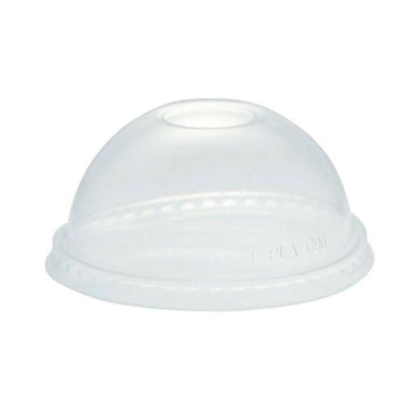 Íves tető PLA biológiailag lebomló, komposztálódó öko feliratos pohárhoz szívószál nyílással 50db/csomag