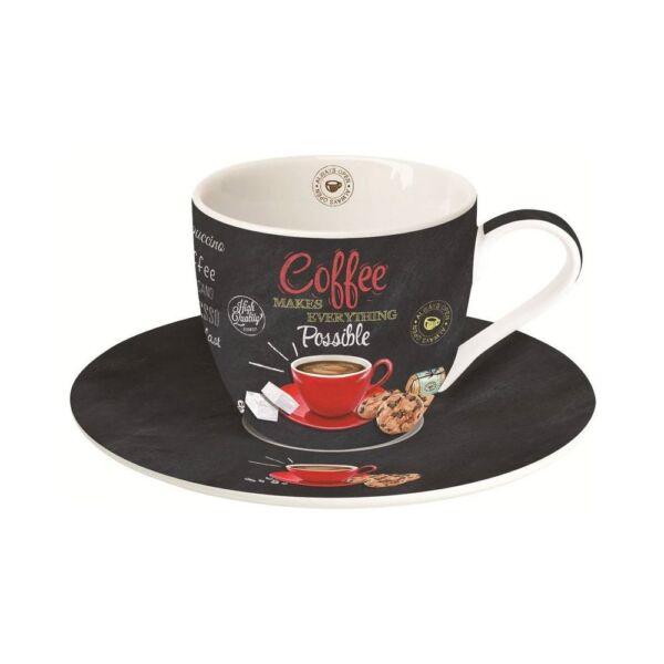 Easy Life porcelán cappuccinós csésze+alj 250ml